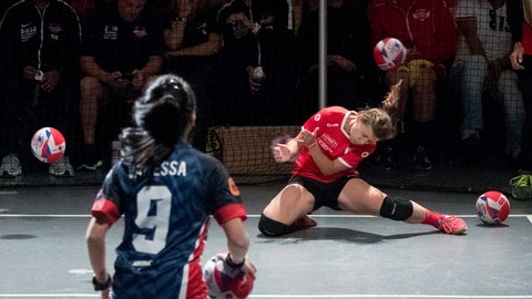 <p>               An Austria player, right, is hit by the ball during women's competition against Malaysia in the Dodgeball World Cup, Saturday, Aug. 4, 2018, in New York. (AP Photo/Mary Altaffer)             </p>