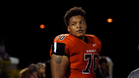 <p>               In this Sept. 16, 2016, photo, then-McDonogh high school football lineman Jordan McNair watches from the sideline during a game in McDonogh, Md. Members of the Maryland football team will wear a helmet sticker with No. 79 to honor former teammate Jordan McNair, who collapsed during a practice session in May and subsequently died. In an announcement Monday morning, Aug. 20, 2018, the school said no player will wear his number for the next three years — the time during which he would have been eligible to play. (Barbara Haddock Taylor/The Baltimore Sun via AP)             </p>