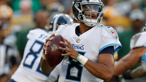<p>               FILE - In this Aug. 9, 2018, file photo, Tennessee Titans quarterback Marcus Mariota drops back during the first half of a preseason NFL football game against the Green Bay Packers in Green Bay, Wis. Mariota is going to get to run and throw more in an offense the Los Angeles Rams used to lead the NFL in scoring last season. Mariota is coming off his worst season, having thrown more interceptions (15) than touchdowns (13). But he enjoyed a rehab-free offseason and looks faster playing without a knee brace. (AP Photo/Matt Ludtke, File)             </p>