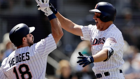 <p>               San Diego Padres' Hunter Renfroe, right, celebrates with teammate Austin Hedges (18) after hitting a three-run home run in the third inning of a baseball game against the Seattle Mariners, Wednesday, Aug. 29, 2018, in San Diego. (AP Photo/Gregory Bull)             </p>