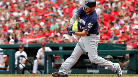 <p>               Milwaukee Brewers' Mike Moustakas hits a two-run double during the third inning of a baseball game against the St. Louis Cardinals, Sunday, Aug. 19, 2018, in St. Louis. (AP Photo/Jeff Roberson)             </p>
