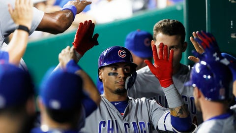<p>               Chicago Cubs' Javier Baez is congratulated in the dugout after hitting a home run in the sixth inning of a baseball game against the Kansas City Royals at Kauffman Stadium in Kansas City, Mo., Monday, Aug. 6, 2018. (AP Photo/Colin E. Braley)             </p>