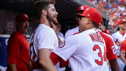 <p>               St. Louis Cardinals' John Gant, front left, is congratulated by Yairo Munoz after hitting a home run during the third inning of a baseball game against the Pittsburgh Pirates, Thursday, Aug. 30, 2018, in St. Louis. (AP Photo/Tim Spyers)             </p>