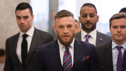 <p>               FILE - In this July 26, 2018, file photo, mixed martial arts fighters Conor McGregor leaves the courthouse following a hearing in New York. McGregor will return to mixed martial arts on Oct. 6 in Las Vegas with a bout against UFC lightweight champion Khabib Nurmagomedov. The UFC dramatically announced the matchup Friday, Aug. 3, to close a news conference promoting the slate of fight cards for the rest of 2018. (AP Photo/Kevin Hagen, File)             </p>