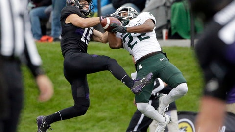 <p>               FILE - In this Saturday, Oct. 28, 2017, file photo, Northwestern wide receiver Macan Wilson, left, and Michigan State cornerback Josiah Scott battle for the ball during the first half of an NCAA college football game in Evanston, Ill. Michigan State coach Mark Dantonio announced Monday, Aug. 6, 2018, that cornerback Josiah Scott is expected to miss about two months after a non-contact injury. (AP Photo/Nam Y. Huh, File)             </p>
