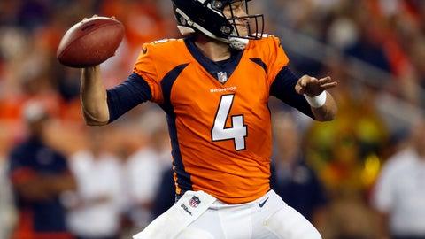 <p>               Denver Broncos quarterback Case Keenum (4) throws against the Chicago Bears during the first half of a preseason NFL football game, Saturday, Aug. 18, 2018, in Denver. (AP Photo/David Zalubowski)             </p>