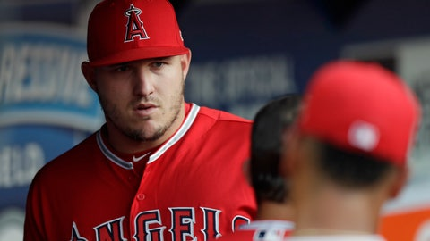 <p>               Los Angeles Angels' Mike Trout stands in the dugout during the third inning of a baseball game against the Cleveland Indians, Saturday, Aug. 4, 2018, in Cleveland. Trout's right wrist is still sore and the Angels will not risk him making it any worse. (AP Photo/Tony Dejak)             </p>