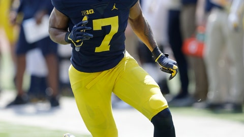 <p>               FILE - In this Saturday, April 15, 2017 file photo, Michigan receiver Tarik Black runs a pattern during the Michigan spring football game in Ann Arbor, Mich. Michigan wide receiver Tarik Black is out indefinitely with an injured right foot. Spokesman Dave Ablauf says Black was hurt during practice, adding he is being evaluated and a timeframe for his return has not been determined. The 14th-ranked Wolverines open the season at No. 12 Notre Dame. Black had 11 receptions for 149 yards and a touchdown in three games last season before having a season-ending foot injury.(AP Photo/Carlos Osorio, File)             </p>