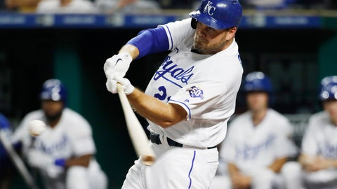 <p>               Kansas City Royals' Lucas Duda hits a solo home run during the second inning of the team's baseball game against the Toronto Blue Jays at Kauffman Stadium in Kansas City, Mo., Thursday, Aug. 16, 2018. (AP Photo/Colin E. Braley)             </p>