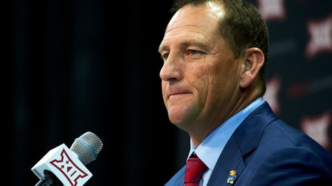 <p>               FILE - In this July 16, 2018, file photo, Kansas football head coach David Beaty speaks during NCAA college football Big 12 media days in Frisco, Texas. Beaty has plenty of reasons to be feeling the pressure this season. The biggest is his record, which is just 3-33 in three seasons at Kansas (AP Photo/Cooper Neill, File)             </p>