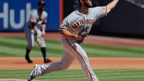 <p>               San Francisco Giants starting pitcher Madison Bumgarner (40) delivers against the New York Mets during the first inning of a baseball game, Thursday, Aug. 23, 2018, in New York. (AP Photo/Julie Jacobson)             </p>