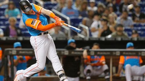 <p>               Miami Marlins pinch hitter Brian Anderson hits a two-run home run in the seventh inning against the Atlanta Braves during a baseball game in Miami, Saturday, Aug. 25, 2018. (AP Photo/Joe Skipper)             </p>