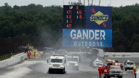 <p>               Track workers repair a section of fence after a wreck during the IndyCar auto race at Pocono Raceway, Sunday, Aug. 19, 2018, in Long Pond, Pa. (AP Photo/Matt Slocum)             </p>