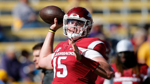 <p>               FILE - In this Nov. 11, 2017, file photo, Arkansas quarterback Cole Kelley (15) warms up before an NCAA college football game against LSU in Baton Rouge, La. Kelley will start at quarterback when the Razorbacks open their season against Eastern Illinois on Saturday. First-year Arkansas coach Chad Morris announced the decision to start Kelley on Monday, Aug. 27, 2018, adding that junior Ty Storey will also play. (AP Photo/Gerald Herbert, File)             </p>