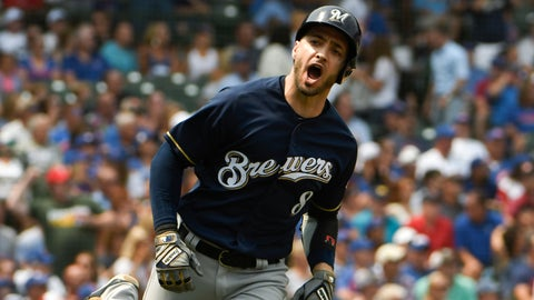 <p>               Milwaukee Brewers' Ryan Braun (8) reacts after hitting a two-run home run against the Chicago Cubs during the first inning of a baseball game,Tuesday, Aug. 14, 2018, in Chicago. (AP Photo/David Banks)             </p>