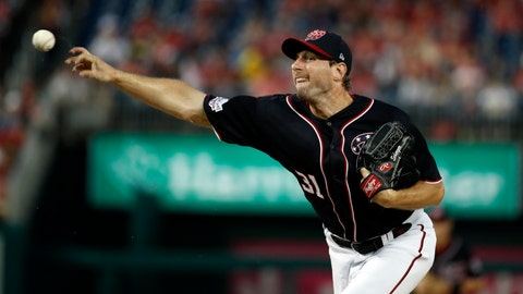 <p>               Washington Nationals starting pitcher Max Scherzer throws during the first inning of the team's baseball game against the Miami Marlins at Nationals Park, Friday, Aug. 17, 2018, in Washington. (AP Photo/Alex Brandon)             </p>