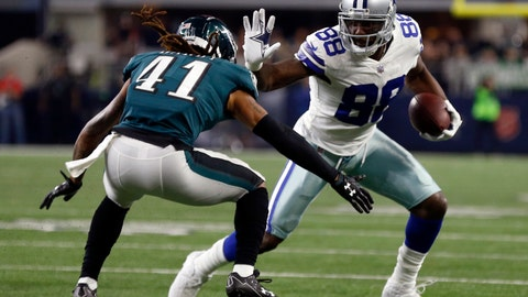 <p>               File-This Nov. 19, 2017, file photo shows Philadelphia Eagles cornerback Ronald Darby (41) defends as Dallas Cowboys' Dez Bryant gains extra yardage after catching a pass in the first half of an NFL football game in Arlington, Texas. Browns wide receiver Jarvis Landry says he would love for Bryant to join him in Cleveland. Landry said Monday, Aug. 13, 2018, that he has been in touch with Bryant, a three-time Pro Bowler who was released in April by the Dallas Cowboys.(AP Photo/Ron Jenkins, File)             </p>