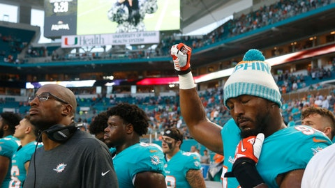 <p>               Miami Dolphins defensive end Robert Quinn (94) raises his right fist during the singing of the national anthem, before the team's NFL preseason football game against the Tampa Bay Buccaneers, Thursday, Aug. 9, 2018, in Miami Gardens, Fla. (AP Photo/Wilfredo Lee)             </p>
