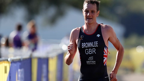 <p>               Alistair Brownlee of Great Britain participates in the running discipline of the men's triathlon finals at Strathclyde Country Park during the European Championships in North Lanarkshire, Scotland, Friday, Aug. 10, 2018. (AP Photo/Darko Bandic)             </p>