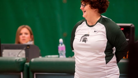 <p>               FILE - In this Feb. 19, 2016 file photo, former Michigan State University gymnastics head coach Kathie Klages reacts during the womens gymnastic's meet in East Lansing, Mich. Former Michigan State gymnastics coach Klages was charged Thursday, Aug. 23, 2018  with lying to police amid an investigation into the school's handling of sexual abuse complaints against former sports doctor Larry Nassar.  (Sundeep Dhanjal/The State News via AP File)             </p>