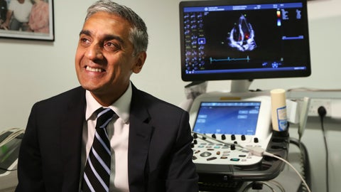 <p>               Dr. Sanjay Sharma, professor of cardiology at St. George's University of London, speaks during an interview on Wednesday Aug. 8, 2018 about a study he led which found procedures that can help identify athletes who are at risk for heart-problems. He said the British soccer program will start re-checking players' hearts at ages 18, 20 and 25. (AP Photo/Robert Stevens)             </p>