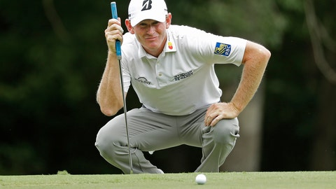 <p>               Brandt Snedeker lines up a putt on the first hole during the third round of the Wyndham Championship golf tournament at Sedgefield Country Club in Greensboro, N.C., Saturday, Aug. 18, 2018. (AP Photo/Chuck Burton)             </p>