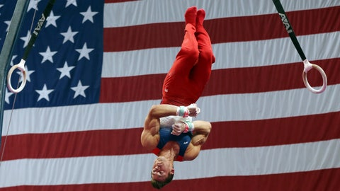 <p>               Sam Mikulak competes on the rings at the U.S. Gymnastics Championships, Thursday, Aug. 16, 2018, in Boston. (AP Photo/Elise Amendola)             </p>