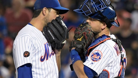<p>               New York Mets relief pitcher Anthony Swarzak, left, talks with catcher Devin Mesoraco during the ninth inning of the team's baseball game against the Atlanta Braves on Friday, Aug. 3, 2018 in New York.the Braves won 2-1. (AP Photo/Bill Kostroun)             </p>