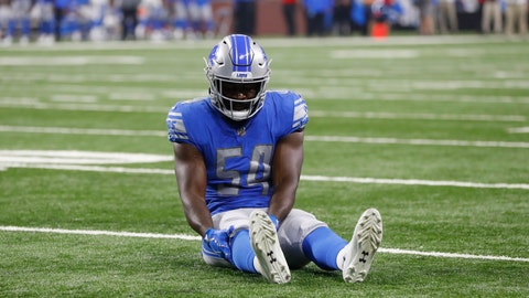 <p>               FILE - In this Aug. 17, 2018, file photo, Detroit Lions linebacker Steve Longa holds his leg after being injured during the second half of a preseason NFL football game against the New York Giants, in Detroit. Longa's knee injury represents a setback for a position group that already is potentially a problem area on Matt Patricia's defense. (AP Photo/Paul Sancya, File)             </p>