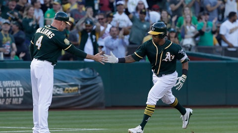 <p>               Oakland Athletics' Khris Davis, right, is congratulated by third base coach Matt Williams (4) after hitting a solo home run against the Detroit Tigers during the third inning of a baseball game in Oakland, Calif., Saturday, Aug. 4, 2018. (AP Photo/Jeff Chiu)             </p>