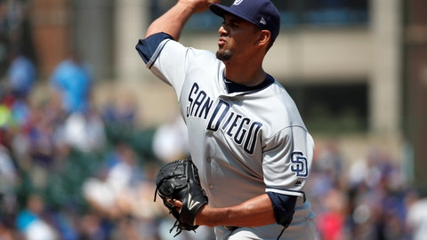 <p>               San Diego Padres starting pitcher Tyson Ross delivers during the first inning of a baseball game against the Chicago Cubs, on Friday, Aug. 3, 2018. (AP Photo/Jeff Haynes)             </p>