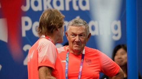 "<p>               Mark Schubert, left, former USA Swimming's National Team head coach, talks with former Australian swim coach Dennis Cottrell at the 18th Asian Games in Jakarta, Indonesia, Wednesday, Aug. 22, 2018. Dismissed in 2010 as the American head coach, Schubert has been working for a year as a ""part-time adviser"" for the Chinese team. (AP Photo/Lee Jin-man)             </p>"