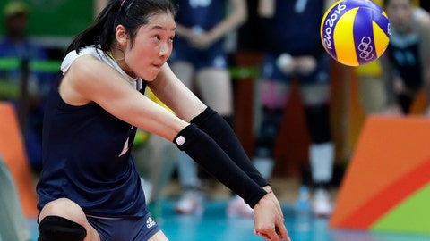 <p>               FILE - In this Aug. 18, 2016, file photo China's Zhu Ting controls the ball during a women's semifinal volleyball match against the Netherlands at the 2016 Summer Olympics in Rio de Janeiro, Brazil. A towering volleyball player who makes her living in Turkey is the unrivalled star of China's squad at the Asian Games in Indonesia. (AP Photo/Jeff Roberson, File)             </p>