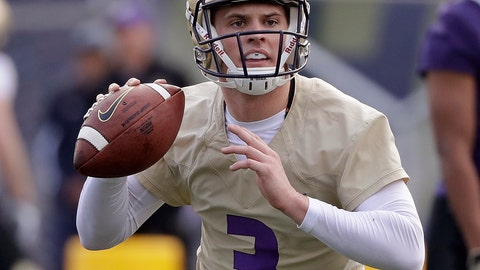 <p>               FILE - In this March 28, 2018, file photo, Washington quarterback Jake Browning looks to pass during an NCAA college football practice, in Seattle. Potential Heisman Trophy contender Browning will lead No. 6 Washington against No. 9 Auburn in the only opening-week game between top-10 teams. (AP Photo/Elaine Thompson, File)             </p>