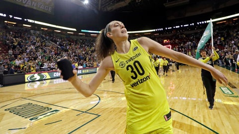 <p>               FILE - In this Aug. 17, 2018, file photo, Seattle Storm's Breanna Stewart tosses a T-shirt to fans after the Storm's 85-77 win over the New York Liberty in a WNBA basketball game, in Seattle. Stewart has taken her game to a new level this year to lead Seattle to the top spot in the league.  Her efforts earned her Associated Press WNBA Player of the Year honors on Tuesday, Aug. 21, 2018. (AP Photo/Elaine Thompson, File)             </p>