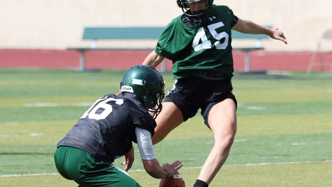 """<p>               FILE - This undated photo provided by Adams State University shows place kicker Rebecca Longo (45) practicing in Alamosa, Colo. The field goal kicker from Adams State thought about her upper-most range for a moment. On the field, at least 54 yards, which is how far she connected on one during practice. In the arena of opening doors for other female football players, she hopes it's endless. Rebecca """"Becca"""" Longo became one of the first females to receive a football scholarship a season ago. (Adams State University via AP)             </p>"""