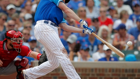 <p>               Chicago Cubs' Daniel Murphy hits a two-run home run against the Cincinnati Reds during the second inning of a baseball game Saturday, Aug. 25, 2018, in Chicago. (AP Photo/Jim Young)             </p>