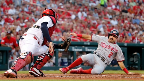 <p>               Washington Nationals' Adam Eaton (2) scores past St. Louis Cardinals catcher Yadier Molina during the fourth inning of a baseball game Thursday, Aug. 16, 2018, in St. Louis. (AP Photo/Jeff Roberson)             </p>
