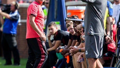 <p>               Manchester United manager Jose Mourinho, left, has an exchange on the touchline with Liverpool manager Jurgen Klopp, right, during the first half of an International Champions Cup tournament soccer match at Michigan Stadium, Saturday, July 28, 2018, in Ann Arbor, Mich. (AP Photo/Tony Ding)             </p>