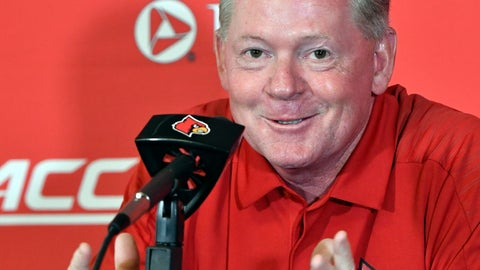 <p>               Louisville head football coach Bobby Petrino reacts to a question during Louisville Football Media Day, Saturday, Aug. 11, 2018, in Louisville, Ky. (AP Photo/Timothy D. Easley)             </p>