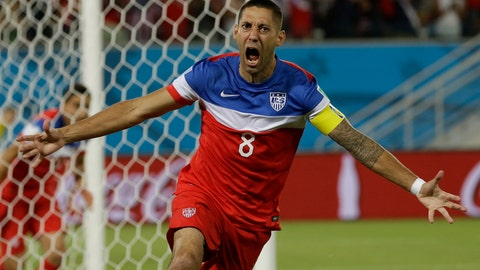<p>               FILE - In this June 16, 2014, file photo, United States' Clint Dempsey celebrates after scoring the opening goal during the group G World Cup soccer match between Ghana and the United States at the Arena das Dunas in Natal, Brazil. Former U.S. national team captain and Seattle Sounders striker Clint Dempsey has announced his retirement, effective immediately. In a statement issued Wednesday, Aug. 29, 2018, by the Sounders, the 35-year-old Dempsey said he believes it's the right time to step away from the game. (AP Photo/Ricardo Mazalan)             </p>