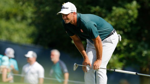 <p>               Adam Scott, of Australia, checks the 12th green during the third round of the PGA Championship golf tournament at Bellerive Country Club, Saturday, Aug. 11, 2018, in St. Louis. (AP Photo/Brynn Anderson)             </p>