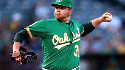 <p>               Oakland Athletics pitcher Brett Anderson works against the Detroit Tigers during the first inning of a baseball game Friday, Aug. 3, 2018, in Oakland, Calif. (AP Photo/Ben Margot)             </p>