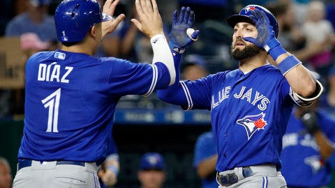 <p>               Toronto Blue Jays' Kevin Pillar celebrates with Aledmys Diaz (1) after hitting a two-run home run during the eighth inning of a baseball game against the Kansas City Royals Tuesday, Aug. 14, 2018, in Kansas City, Mo. (AP Photo/Charlie Riedel)             </p>