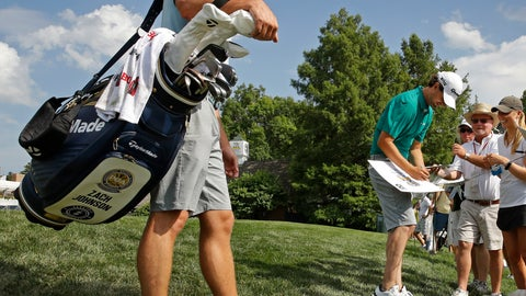 <p>               Zach J. Johnson signs autographs during practice for the PGA Championship golf tournament Monday, Aug. 6, 2018, at Bellerive in Saint Louis. Johnson will be playing in the tournament that includes the more well-known golfer also named Zach Johnson. (AP Photo/Charlie Riedel)             </p>