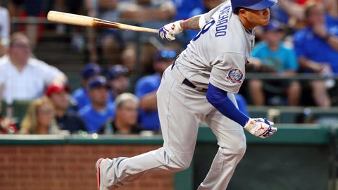 <p>               Los Angeles Dodgers' Manny Machado (8) follows through on a two-run single in the third inning against the Texas Rangers in a baseball game Tuesday, Aug. 28, 2018, in Arlington, Texas. (AP Photo/Richard W. Rodriguez)             </p>