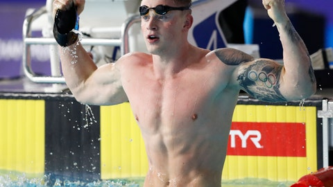 <p>               Adam Peaty of Great Britain celebrates after winning the gold medal in the 50 meter breaststroke men final at the European Swimming Championships in Glasgow, Scotland, Wednesday, Aug. 8, 2018. (AP Photo/Darko Bandic)             </p>