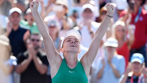 <p>               Simona Halep of Romania reacts after defeating Sloane Stephens of the United States to win the final of the Rogers Cup tennis tournament Sunday, Aug. 12, 2018 in Montreal. (Paul Chiasson/The Canadian Press via AP)             </p>