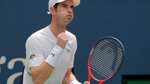 <p>               Andy Murray, of Great Britain, reacts during his match against James Duckworth, of Australia, during the first round of the U.S. Open tennis tournament, Monday, Aug. 27, 2018, in New York. (AP Photo/Andres Kudacki)             </p>