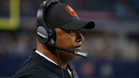 <p>               Cincinnati Bengals head coach Marvin Lewis watches from the sidelines during the second half of a preseason NFL football game against the Dallas Cowboys in Arlington, Texas, Saturday, Aug. 18, 2018. (AP Photo/Michael Ainsworth)             </p>